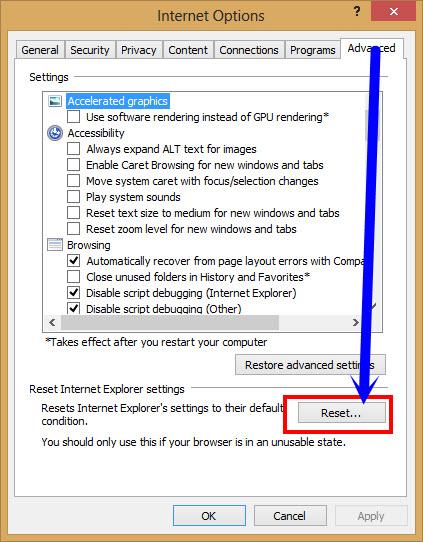 advanced settings in internet explorer