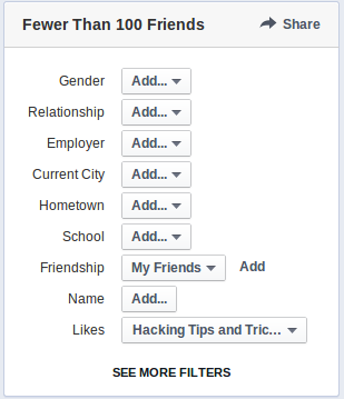 filter option on facebook