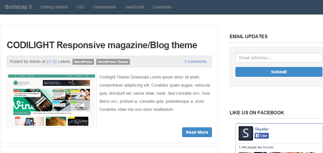 Bootstrap 3 Blogger Template   Blogger Template Demo.