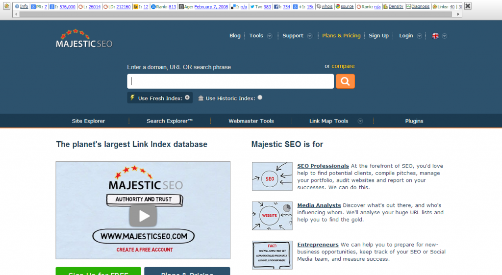 Majestic SEO   Backlink Checker   Site Explorer