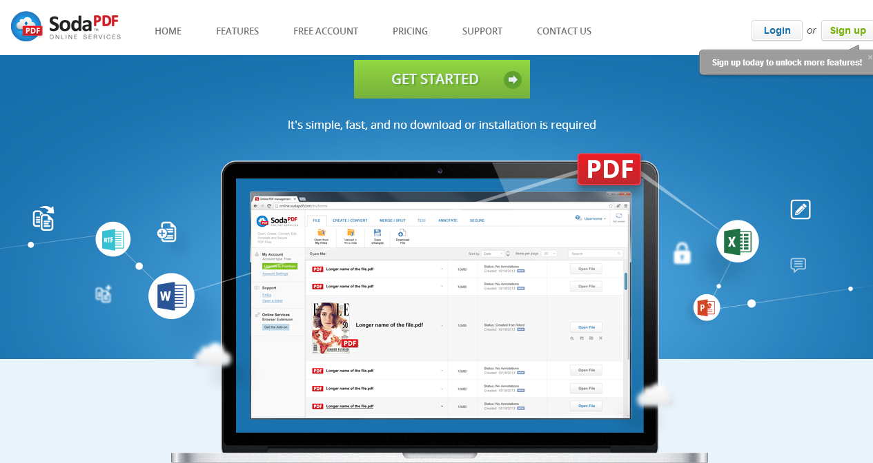 Online PDF management Create and store PDF with Soda PDF Online