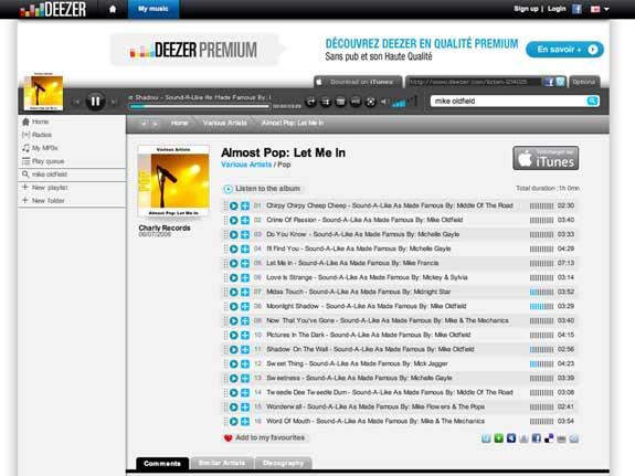 deezer hear online music free