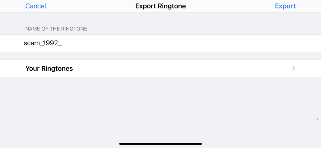 Export the custom ringtone
