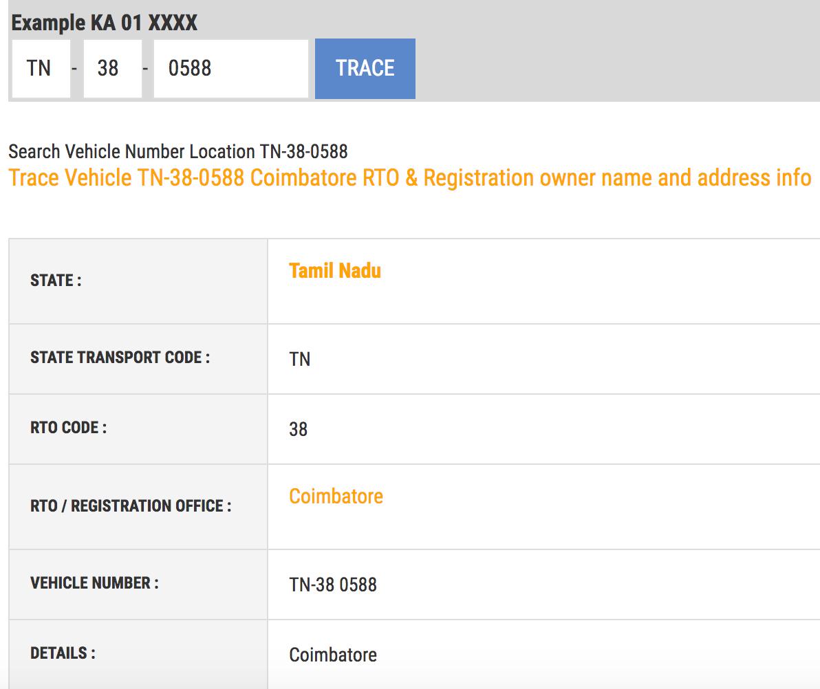 Trace (Car)Vehicle Registration Details: Owner Address by Number Plate